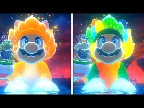 Bowser's Fury - Normal vs Rainbow Fury Bowser Boss Fight (Comparison)