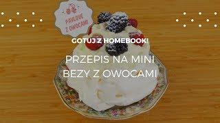 Mini bezy z bitą śmietaną i owocami #homebookgotuje