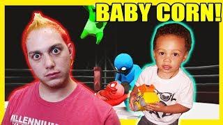 Lasercorn VS Babycorn in Gang Beasts