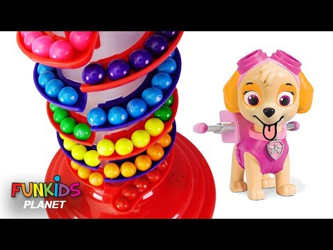 Thumbnail: Learn Colors Videos For Kids - Paw Patrol Skye & Chase Rainbow Gumballs and Gumball Machine