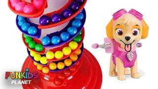 Paw Patrol Skye & Chase Rainbow Gumballs & Gumball Machine