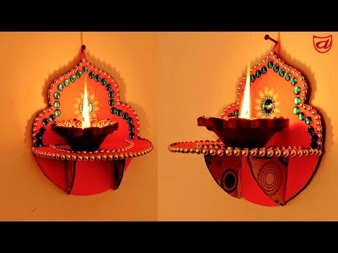 Wall Hanging Diya & Candle Stand | Diwali & Christmas Decoration Ideas by artsNcraft