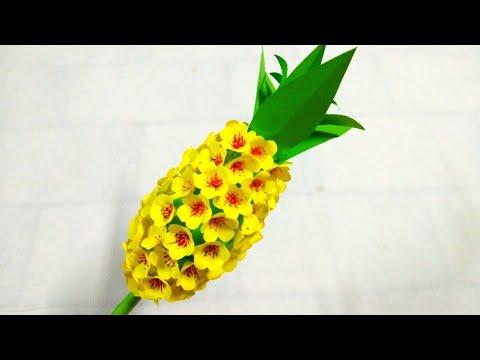 How to make paper flowers pineapple (ดอกไม้กระดาษ ดอกสับปะรด#28) l แม่เนย น้องพอสDIY