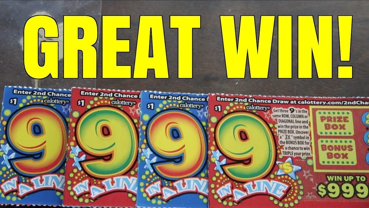 GREAT WIN ON $1 SCRATCH TICKET!!! 9 In A Line $1 California Lottery  Scratchers