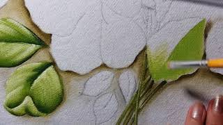 Hibiscos – Folhas – Parte 1 – Pintura em tecido