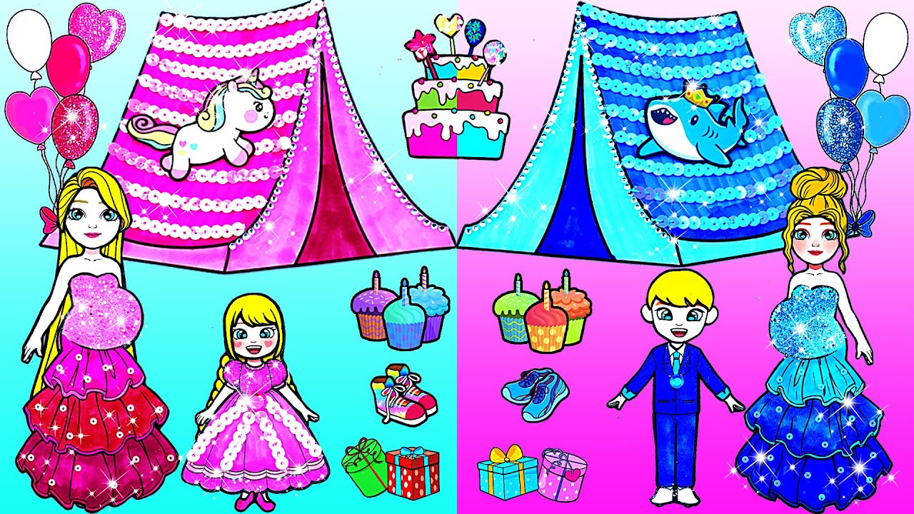 Paper Dolls Dress Up - Pink Unicorn and Blue Baby Shark Birthday Party 🌈 Barbie Story & Crafts