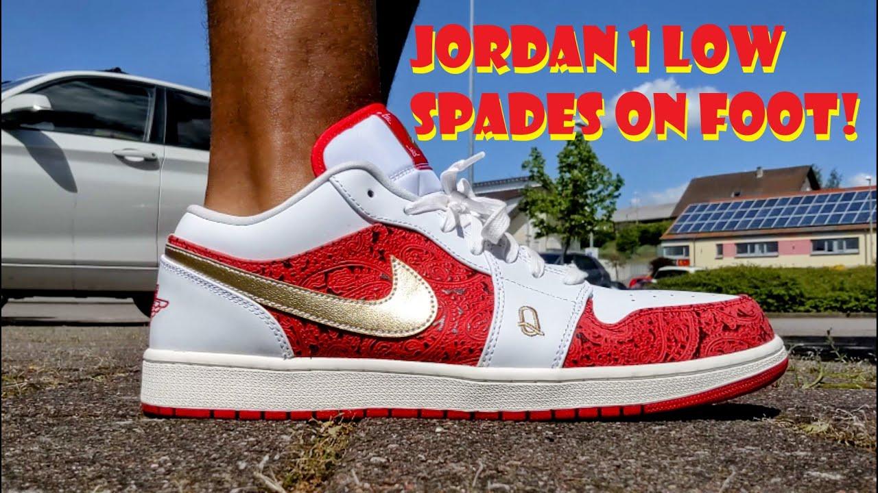 JORDAN 1 LOW SPADES ON FOOT LOOK!!!