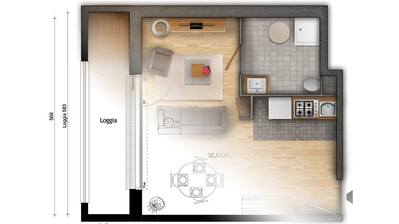 Floor plan rendering in Photoshop