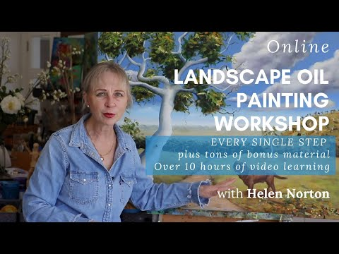 HOW TO PAINT A LANDSCAPE OIL PAINTING WITH AN ANIMAL | ONLINE ART COURSE  LEARN HOW TO PAINT CLOUDS