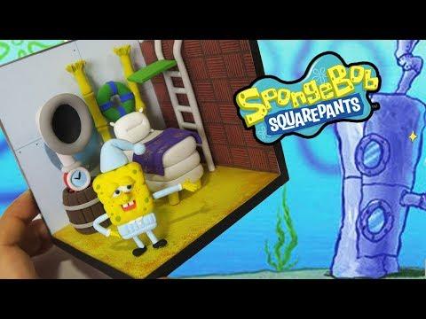 Making SpongeBob Squarepants and his bedroom/clay diorama/ clay figure