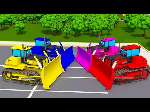 Trucks Cars Cartoon for Children Learn Colors With Surprise Activity Bulldozers for Kids