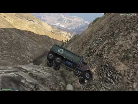 Grand Theft Auto 5 - Driving Large Vehicles Off Mt.Chilliad! [HD]