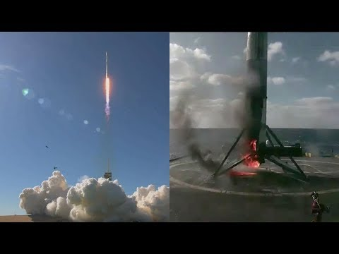 spacex falcon 9 launches koreasat 5a falcon 9 first stage landing 30 october 2017