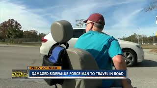 Disabled man looking for help to get around his neighborhood