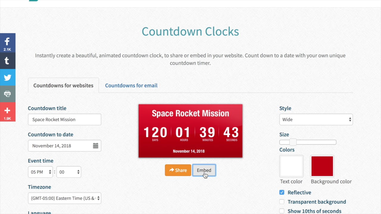 Embedding countdowns in other sites