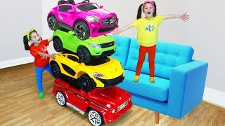 Giant Colorful Tower with Sport Cars Pretend Play with Fatima