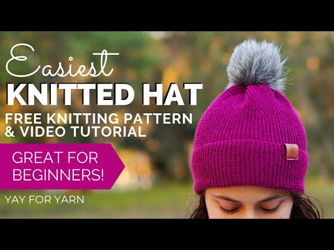 Easiest Knitted Hat (Made From A Rectangle!) - Free Knitting Pattern For Beginners By Yay For Yarn