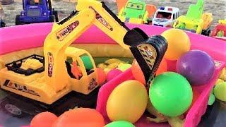 Car For Kids | Dump Trucks Transporting Color Ball | Excavator Backhoe for Children
