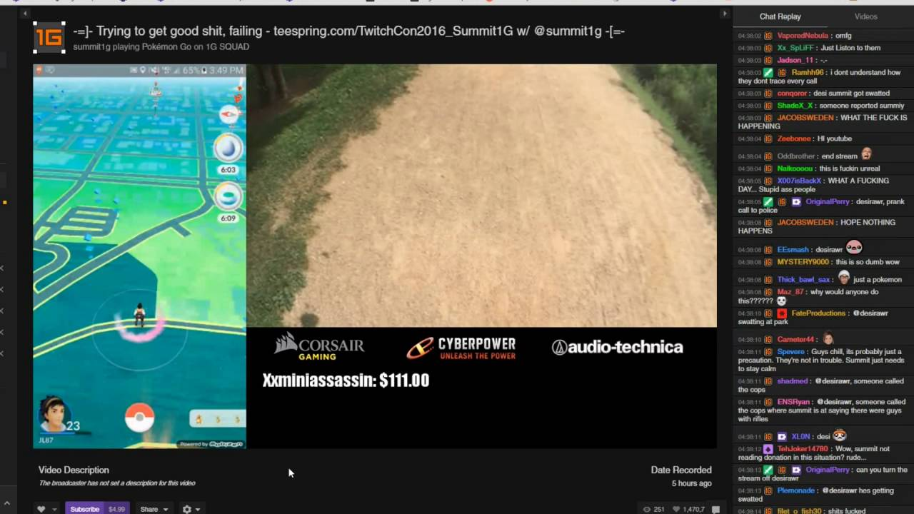 Summit Gets Swatted Playing Pokemon Go 26 July 2016 Full Video
