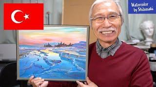 【風景の描き方】アクリル絵の具で描くトルコ・パムッカレの風景/ 心地いいアート/ 癒し
