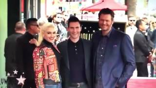 blake shelton and gwen stefani congratulating adam levine for his honor of hollywood walk of fame