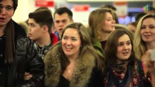 Flashmob in Russia with a beautifull Russian folk song Smuglyanka Moldavanka