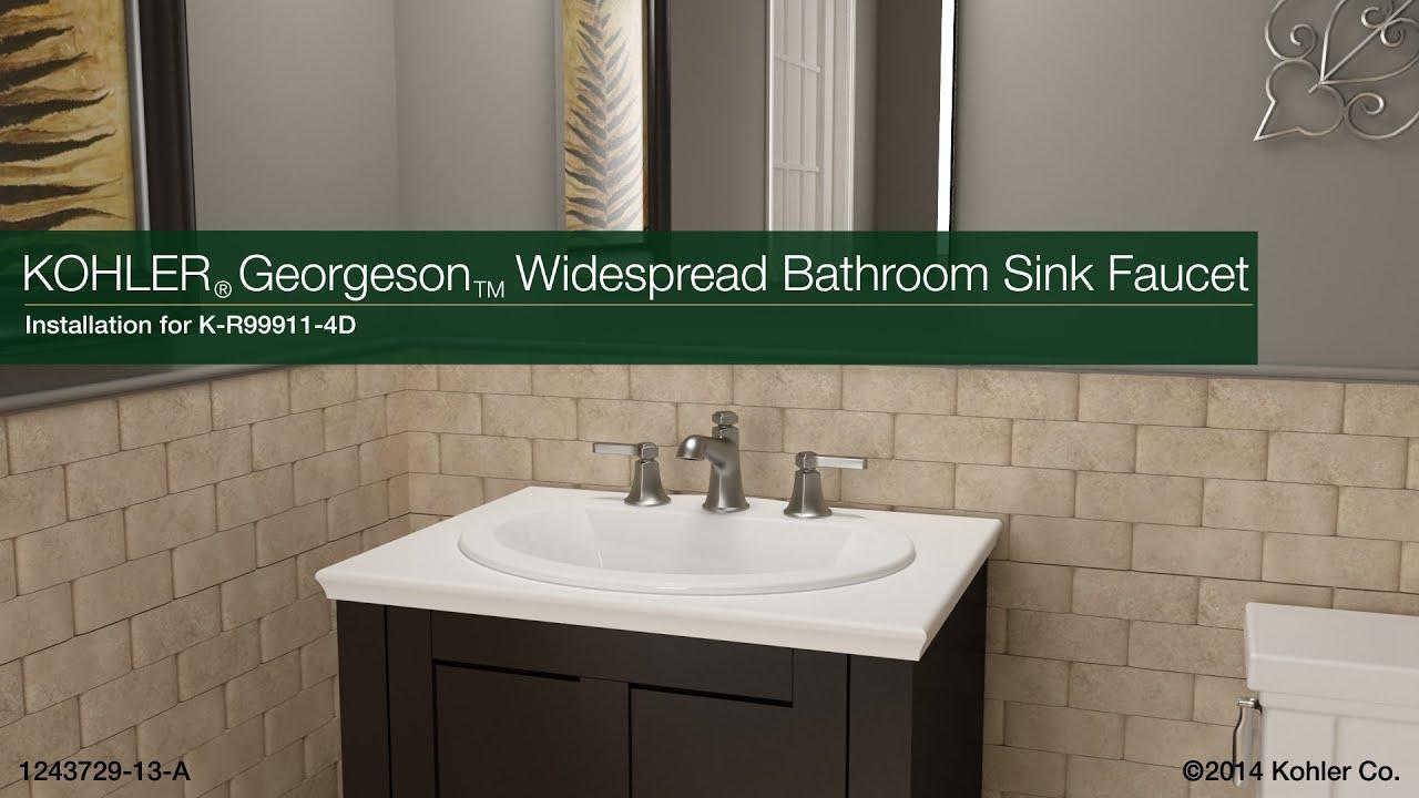 Installation - Georgeson Widespread Bathroom Sink Faucet - YouTube