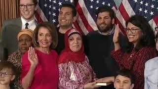 RAW Islamic Palestinian ISRAEL HATING Muslim USA Congresswoman swears in on QURAN January 2019