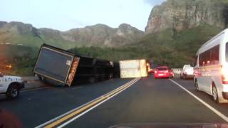 Winds in Cape Town turning trucks on their side.