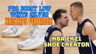NBA Shoe Creator ADIDAS PRO BOOST LOW WHITE SILVER KRISTAPS PORZINGIS / NBA 2K21