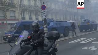 Riot police advance on Paris protesters