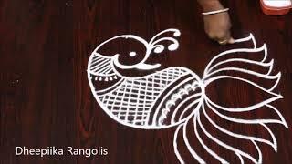 Easy peacock lotus rangoli design l latest freehand rangoli design l simple muggulu