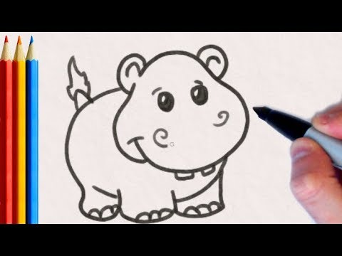 How to Draw Hippo (EASY) | Step by Step Art Tutorial For Kids thumbnail