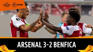 Arsenal vs Benfica (3-2) | Aubameyang rescues Gunners late on | Europa League Highlights