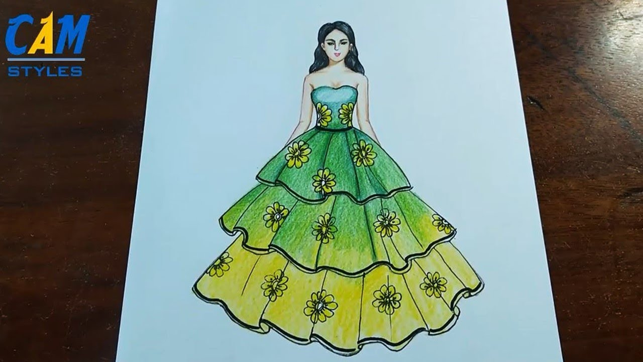 Beautiful Green Dress Drawing How To Draw Easy Girl With Beautiful Dress Youtube