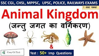 Biology Gk : Animal Kingdom (जन्तु जगत ) For SSC CGL , CHSL , MPPSC, UPPSC , RAILWAYS EXAMS