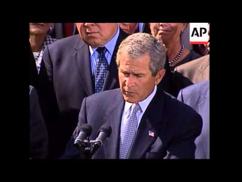 President George W. Bush reaches agreement with House leaders on Iraq resolution