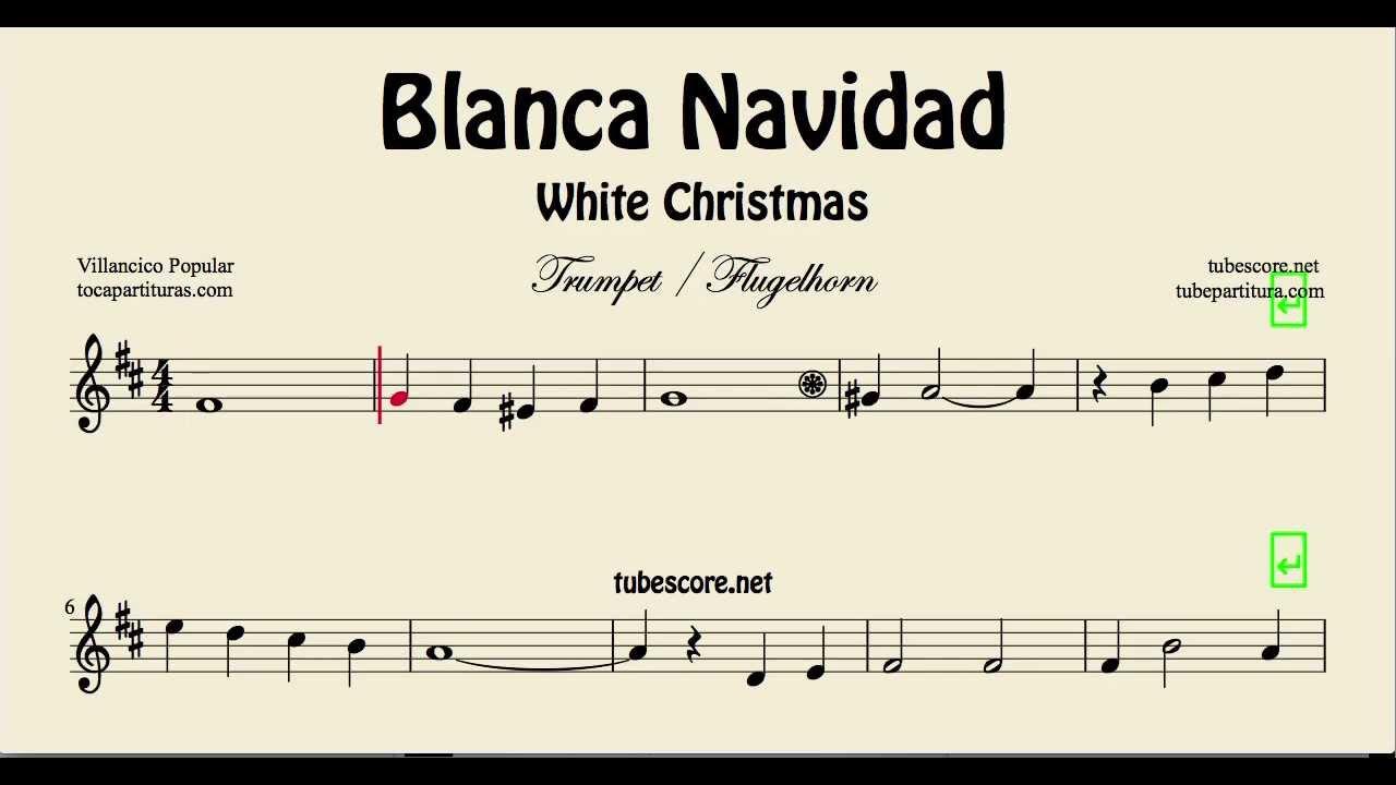 White Christmas Sheet Music for Trumpet and Flugelhorn Blanca ...