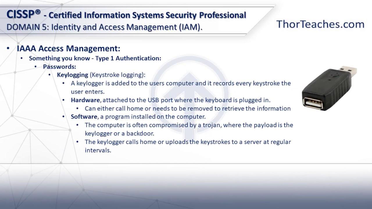 CISSP Domain 5: Identity and Access Management (IAM) - Type 1 authentication