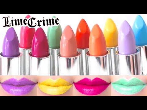 Lime Crime Lipstick Swatches on Lips 10 colors - YouTube
