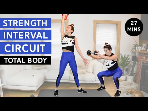 Strength Interval Circuit Workout Total Body, No Jumping, 27 Mins