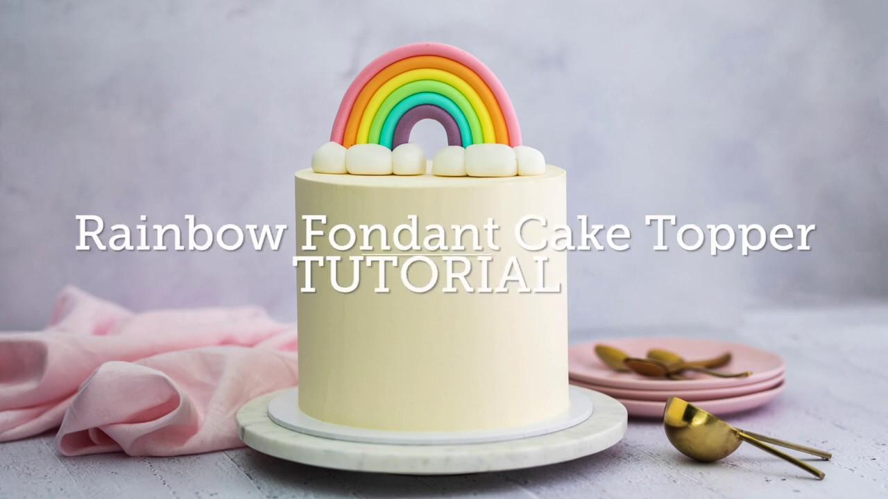 How to Make a Rainbow Fondant Cake Topper - YouTube