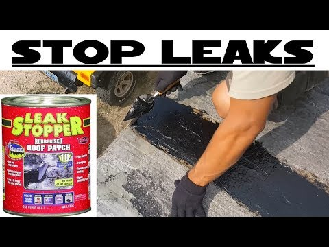 Leak Stopper® Rubberized Roof Patch on metal roof