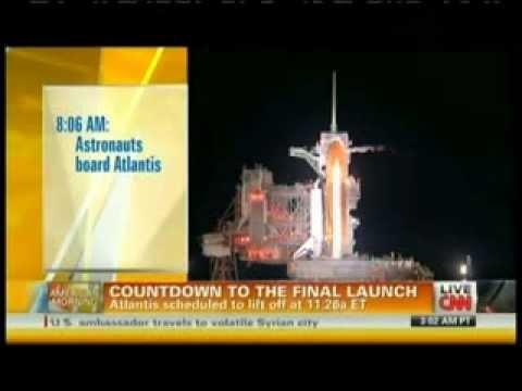 STS-135 Launch (Final Space Shuttle Mission) CNN Live Coverage Part 1