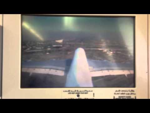 Dubai A380 landing from vertical stabilizer camera