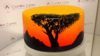 African safari airbrushed cake