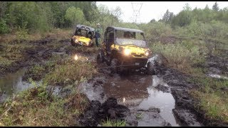 Polaris RZR and Can Am Commanders playing in the mud.  Lots of stucks.