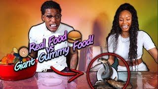 Real Food vs Giant Gummy Food!