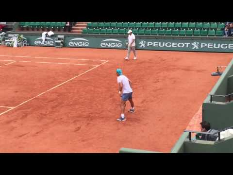 Rafa Nadal And Andy Murray Practice Session Before The 2016 French Open