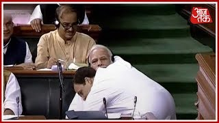 Rahul Gandhi Hugs Narendra Modi After Powerful Speech; PM Modi Stunned #GandhiModiHug